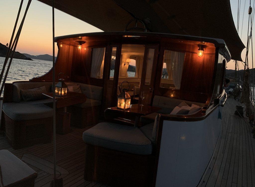 Feadship Iduna exterior seating sunset